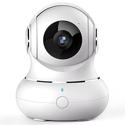 WLAN IP Kamera, [2021 Neu] Crzwok Überwachungskamera innen 360 Grad Hundekamera mit Bewegungserfolgung, Babyphone mit Kamera mit 2-Wege-Audio,IR Nachtsicht für Haustier, kompatibel mit Alexa