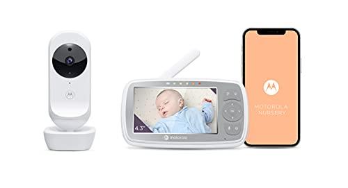 Motorola VM44/Ease44 Connect - Wi-Fi Babyphone mit Kamera – 4,3 Zoll Video Baby Monitor HD Display – Motorola Nursery App - Nachtsicht, Wiegenlieder, Microfon, Raumtemperaturüberwachung - Weiß