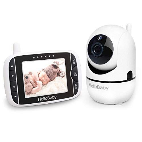 Babyphone mit Kamera ferngesteuerter Pan-Tilt-Zoom und 3,2-Zoll-LCD-Bildschirm, Infrarot-Nachtsicht, Temperaturanzeige, Schlaflieder, Zwei-Wege-Audio, mit Wandhalterung