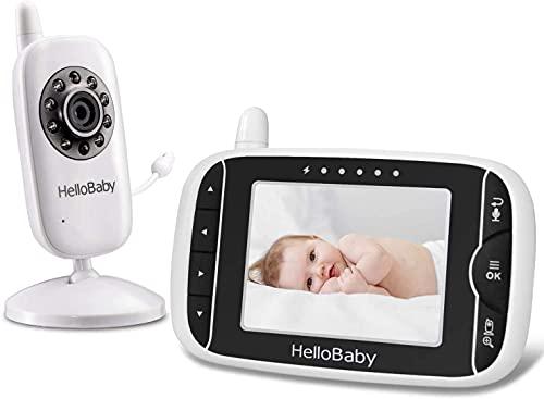 HelloBaby Video Babyphone mit Kamera und Audio | Schützen Sie Babys mit Nachtsicht, Rücksprache, Raumtemperatur, Schlafliedern, 960 Fuß Reichweite und Langer Akkulaufzeit